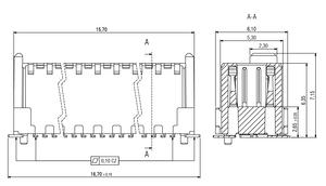 Dimensions Zero8 plug straight unshielded 32 pins