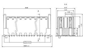 Dimensions Zero8 plug straight unshielded 80 pins