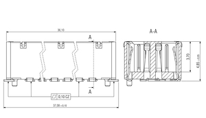 Dimensions Zero8 socket straight shielded 80 pins