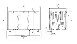 Dimensions Zero8 socket straight shielded 20 pins