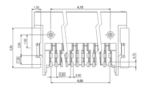Dimensions Zero8 socket angled unshielded 12 pins