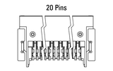 Dimensions Zero8 socket angled 20 pins