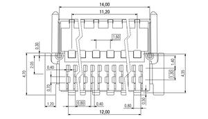 Dimensions Zero8 plug angled shielded 32 pins