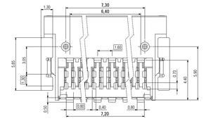 Dimensions Zero8 socket angled shielded 20 pins