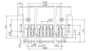 Dimensions Zero8 socket angled shielded 32 pins