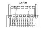 Dimensions Zero8 plug angled 32 pins